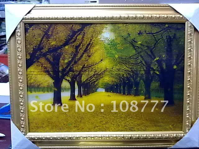 Free shipping/HD 3D stereoscopic paintings/Picture frame/have frame/size:25*35/PET-high definition 3D picture of Golden Avenue