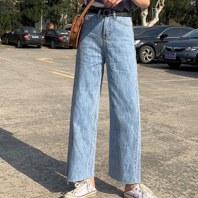 Spring Autumn Korean Style Loose Wide Leg Straight Women Denim Pants Boyfriend Preppy Style High Waist Female Student Jeans