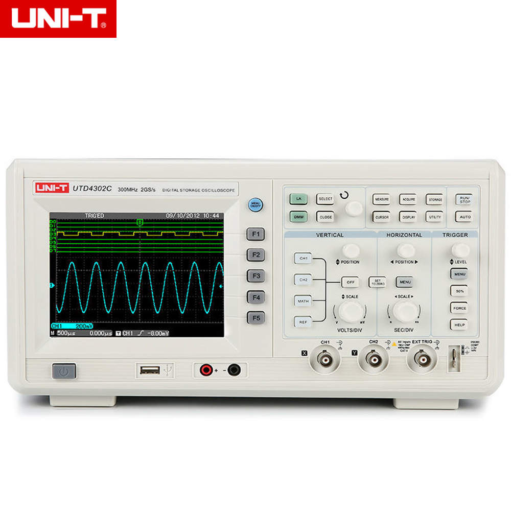 UNI-T UTD4302C 300MHz 2GSa/s 2 Channels Bench Digital Oscilloscope Analyzer Multimeter 3in1 USB AC 110-220V