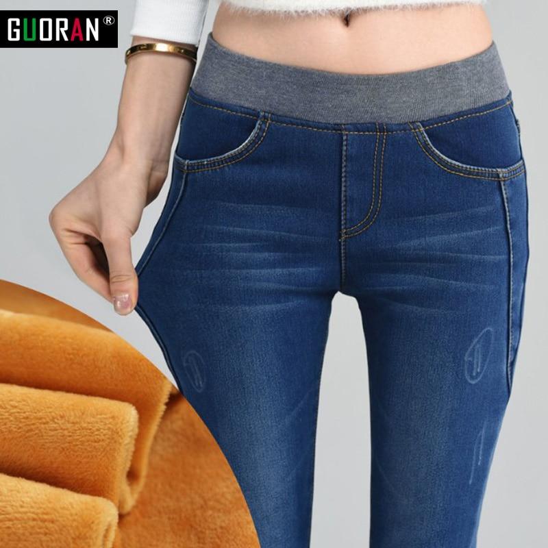 Mode taille haute jeans femme denim crayon pantalons femmes maigre jeans, plus grande taille 26-34 Plus de velours chaud pour l'hiver épaissir