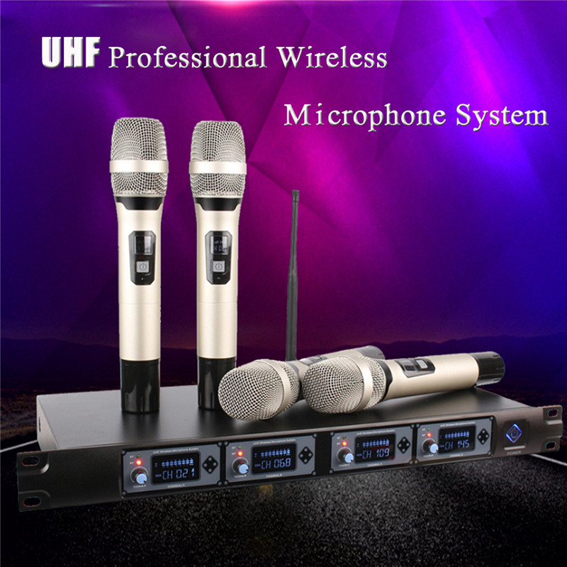 UHF Long Range Wireless LCD Display Microphone Mic 4 Handheld 4 Channel Karaoke Microphone System For Home KTV Singing q