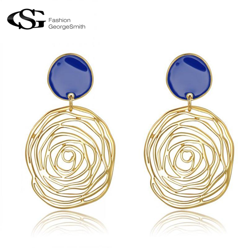 GS Drop Earrings for Women Charming Blue Gold Large Rose Flower brincos for Party Elegant Women Vintage Gifts