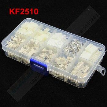 60 juegos Kit KF2510 Kits en Caja 2 3 4 5 pin 2,54mm Pitch + Pin Header Right ángulo + Terminal conectores adaptador