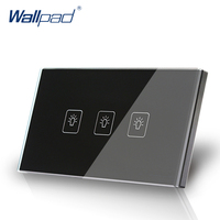 US AU Standard Wallpad Touch Switch 3 Gang 1 Way Touch Screen Light Switch Black Crystal