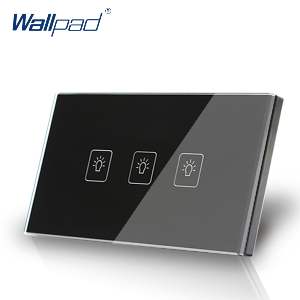3 Gang 1 Way US/AU Standard Wallpad Touch Switch Touch Screen Light Switch Black Crystal Glass Panel Free Shipping free shipping us au standard touch switch 2 gang 1 way control crystal glass panel wall light switch kt002us