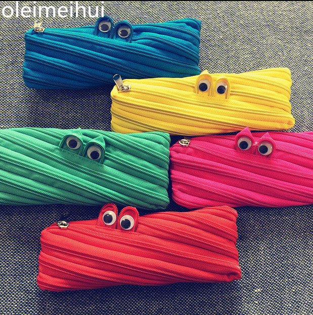 Cute <font><b>pencil</b></font> case Monster Harajuku zipper Girl Boys school <font><b>pencil</b></font> bag coin purse creative glasses Multifunctional Storage package image