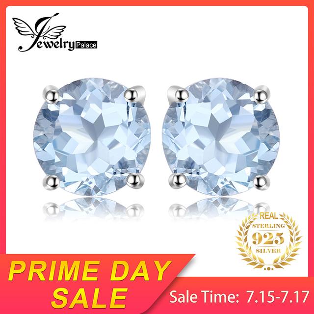 Natural Sky Blue Topaz Stud Earrings