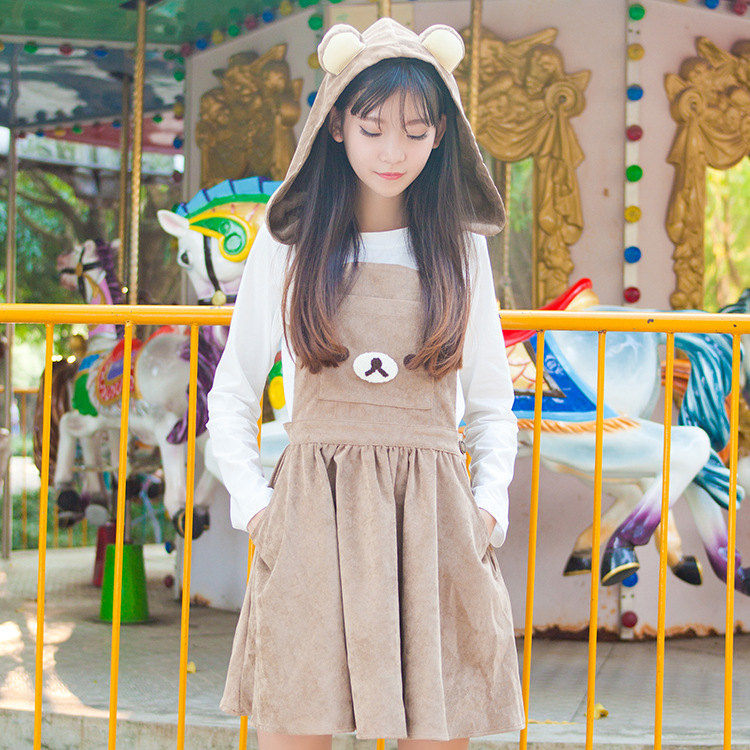 78736743599 Autumn Skirts Soft Sister Amime Cute Bear Ears Hood Brown Cute Jumper Skirt Lolita  Cute Japanese Suspender Strap Embroidery JSK-in Skirts from Women s ...