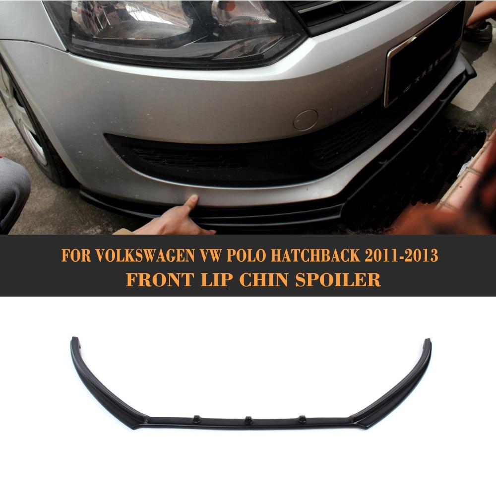 FRP Unpainted Black Primer auto car front bumper lip spoiler for VW Polo 6R 2011 2012 2013 Car Styling