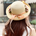 Handmade Roll Up Hem Flower Strawhat Women's Garishness Sunbonnet Bucket Hat Decoration Floppy Beach Hat Beautiful Bowler Hat