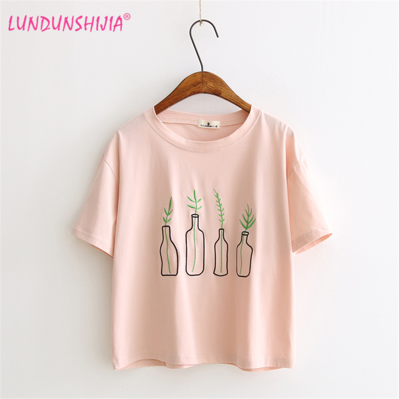 lundunshijia vase embroidery t shirt women tops women. Black Bedroom Furniture Sets. Home Design Ideas
