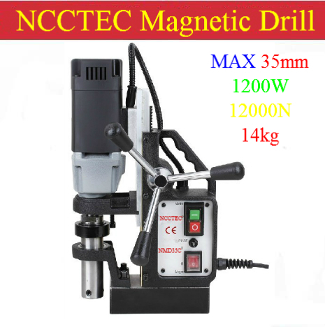 35mm NCCTEC Core drill Magnetic base Drills NMD35C   1.4'' 14kg net weight   1200W drill carbide drill air drill chuck with key - title=