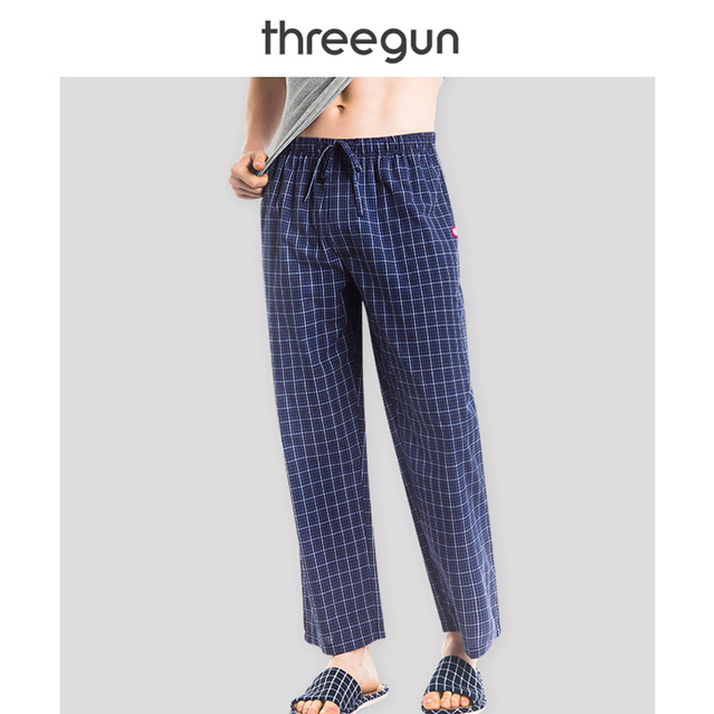 THREEGUN Sleep Pants Men Plaid Check Sleepwear Gingham 100 Cotton Casual Pijamas Home