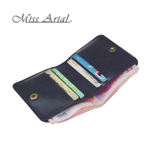 MISS ARIAL WALLETS VINTAGE TOP PU LEATHER NEUTRAL SOFT TINY PURSE SMALL SLIM CARDS HOLDER THIN PORTABLE MINI BENDY PURSES BLACK