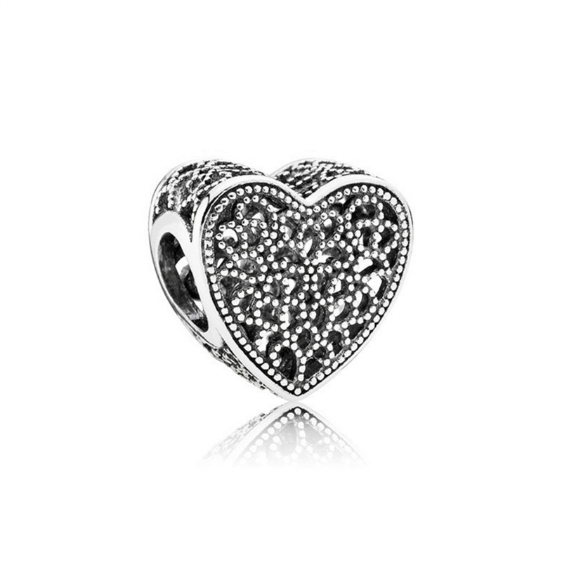 JJ192 NEW Lovely Heart DIY Jewelry Charms Beads Fit Pandoraa Bracelet & Necklaces Pendant Beads Jewelry Making Women Gift