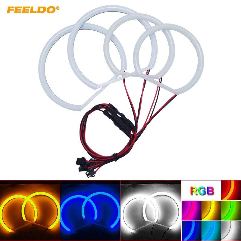FEELDO 4Pcs/set Car Cotton LED Headlight Angel Eyes Halo Ring Light For BMW E46/5 E46 Compact(2000 2004) E83/X3 Headlight