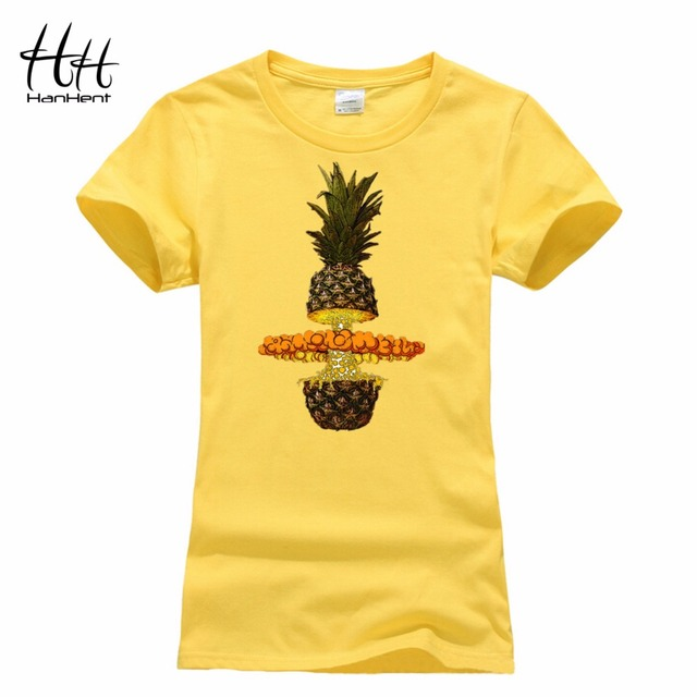 771e98a8efba HanHent Summer Women T shirt 2016 Fruit Pineapple Tee shirt Casual Tops  Women's Funny Lace Clothes