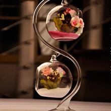 Подвесная стеклянная ваза для цветов Хрустальный гидропонный контейнер свадебное оформление отеля 2 x выдувная стеклянная ваза для шариков+ 1 x держатель для стекла