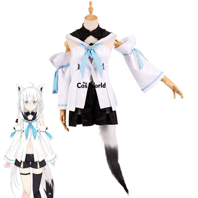 Youtuber Hololive Shirakami Fubuki Animal Fox Tops Shorts Uniform Outfit Anime Cosplay Costumes