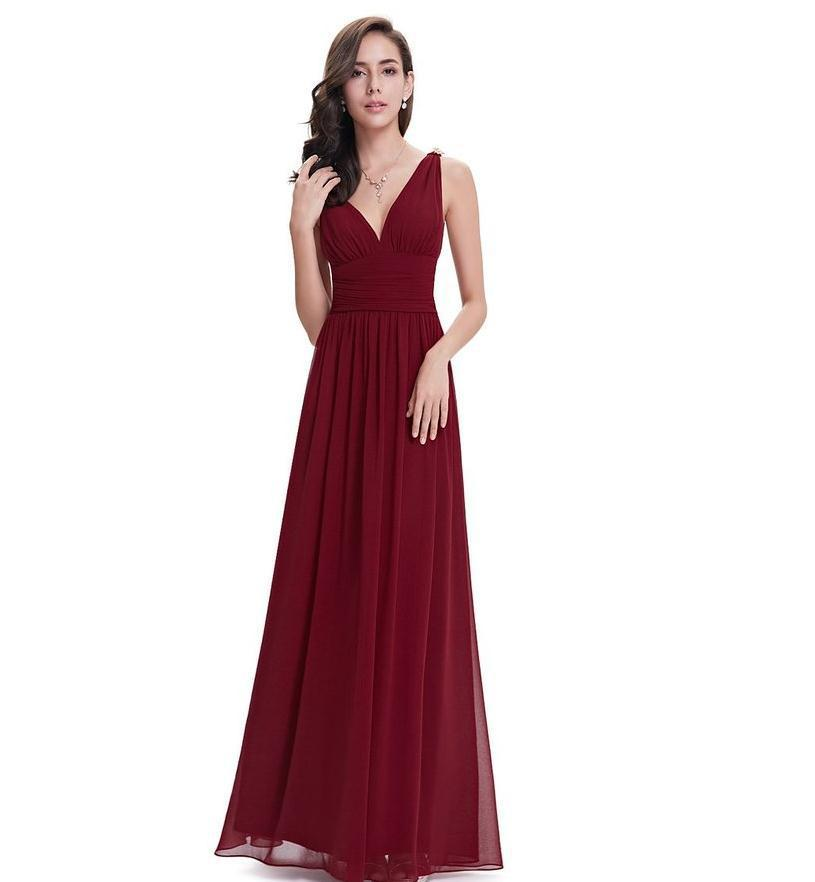 Vivian's mariée 2018 couleur unie col en V longue robe de demoiselle d'honneur sans manches longueur au sol personnalisé Simple femmes robe en mousseline de soie