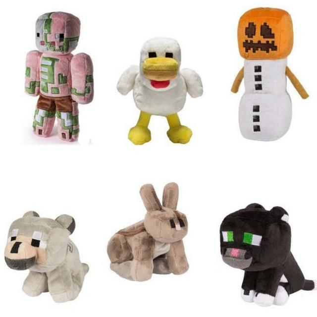 New! High Quality Cartoon Animals 16-20cm Pig Wolf Spider Chick Stuffed Toys Minecraft Plush Toys For Kids Factory Price