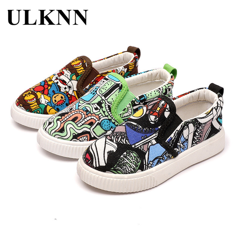 2018 New Spring children Shoes Boys Canvas Shoes Kids Graffiti Girls Sports School Casual Shoe Flat Toddle Baby Soft Green Shoe