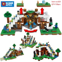 Decool 829 729pcs Minecrafted set my world The Waterfall Base Steve Alex figure legoed 21134 Building Blocks Toys For Children