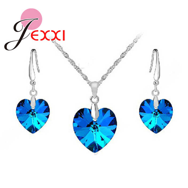 New Trendy Clear Blue Crystals Shaped Romantic 925 Sterling Silver Wedding Jewelry Set For Women Bridal Accessories