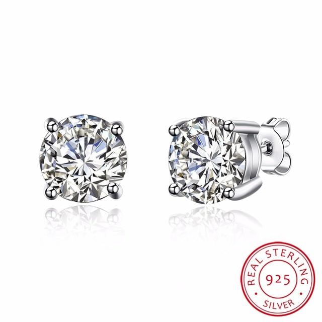 Lekani Luxury 2 Ct Round Aaa Cubic Zirconia Stud Earring For Women Men Real 925 Sterling