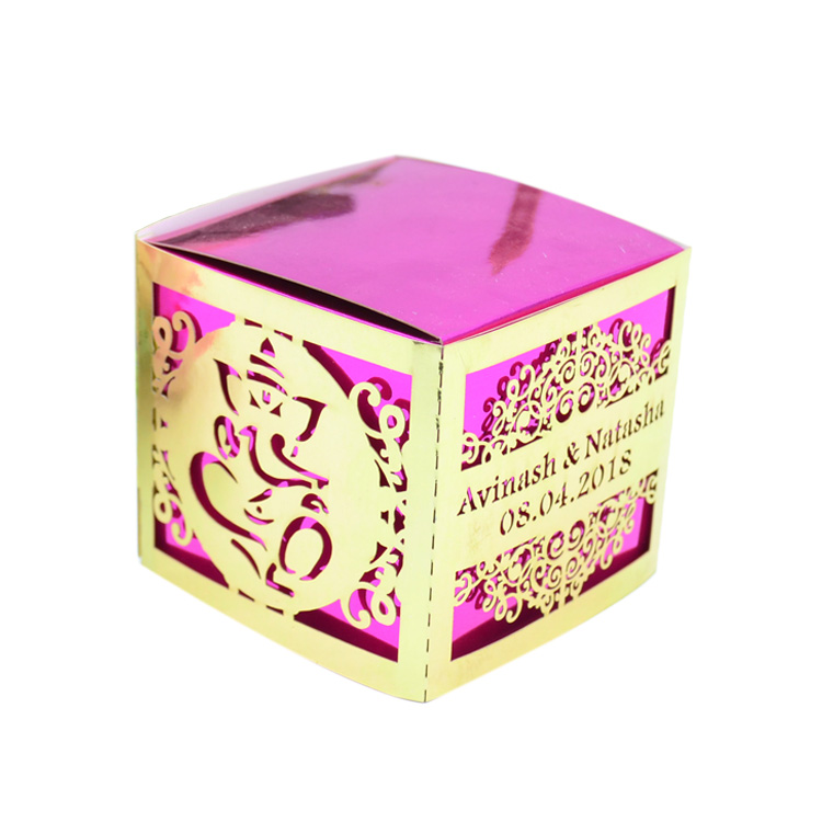Ganesh design laser cut luxury indian wedding sweet boxes