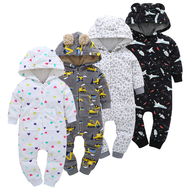 2019 Spring And Autumn newborn baby boys girls warm clothing long sleeved mother children   romper   cotton kids Garments