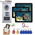 SmartYIBA 3 единицы квартиры приложение дистанционное управление 9 дюймов монитор Wifi беспроводной видео дверной звонок Домофон RFID камера систем...
