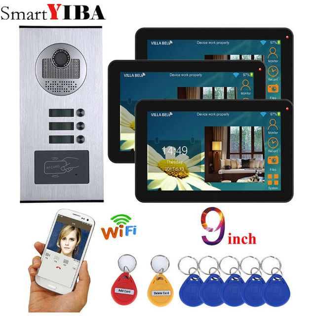 Smart 3 Unit Apartment APP Remote Control 9 Inch Monitor Wifi Wireless Video Door Phone Doorbell Intercom RFID Camera System