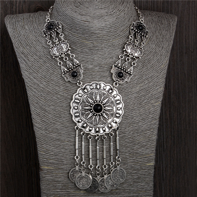 H:HYDE Fashion Antique Thai silver color necklace statement charms jewelry vintage nation choker necklaces & pendants