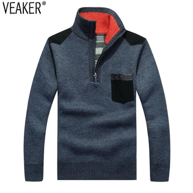 2018 Herbst Winter Männer Dicken Pullover Pullover Zipper Stehkragen Slim Fit Pullover Männlichen Gestrickte Tops Pullover Strickwaren 3xl