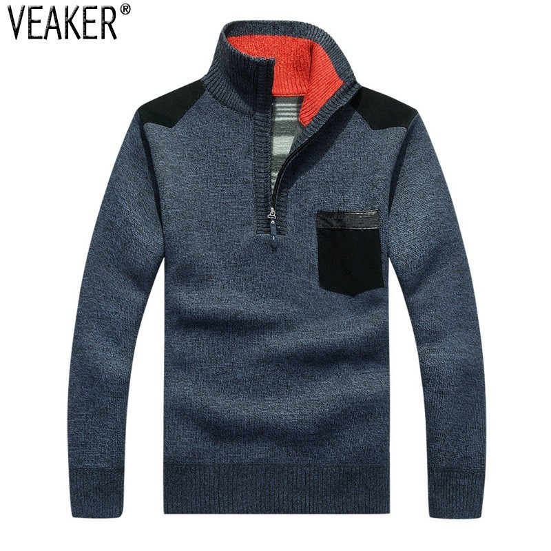 2019 Autumn Winter Men's Thick Sweater Pullovers Zipper Stand Collar Slim Fit Sweaters Male Knitted Tops Pullover Knitwear 3XL