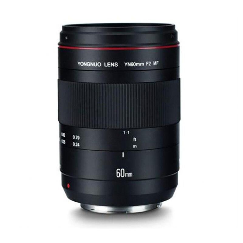 Objectif Macro YONGNUO YN60mm F2 lentille MF avec indicateur de Distance de mise au point pour appareil photo Nikon Canon 700D 80D 5D Mark III IV