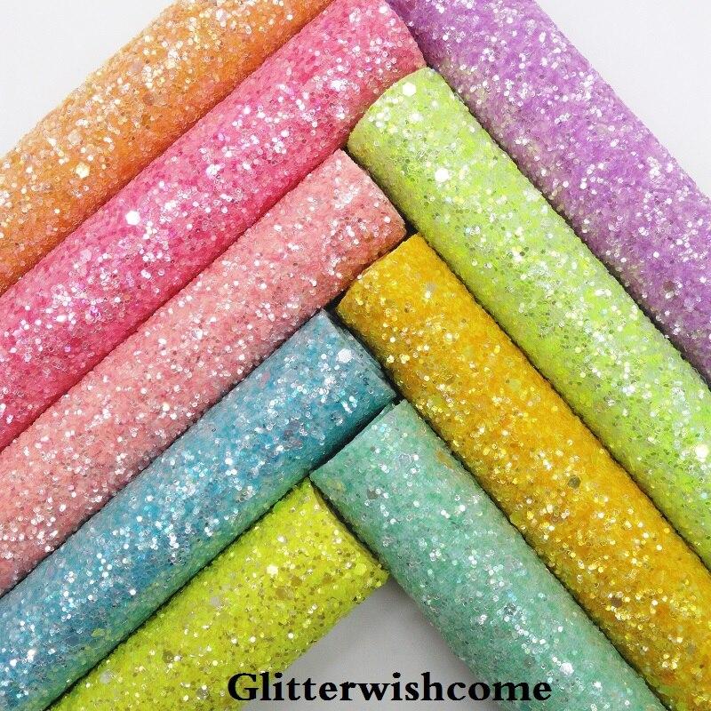 Glitterwishcome 21X29 см A4 Размеры синтетическая кожа, соответствующие Цвет поддержку, Коренастый Блеск кожи винил для Луки, GM033A