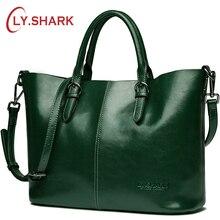 LY.SHARK Green handbags women genuine leather bag shoulder female messenger crossbody for composite red