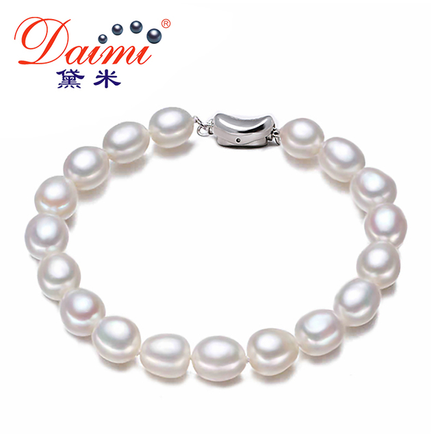 Daimi Brand Freshwater Pearls Bracelet 7 8 Mm Natural White Pearl Oval Shape River