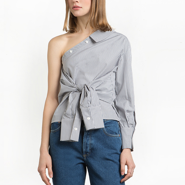 53125208125805 Fashion Women s One Shoulder Slim Blouse Sexy Off Shoulder Shirt Summer  Striped Tops Shirt Cool Faux Sleeve Blusas