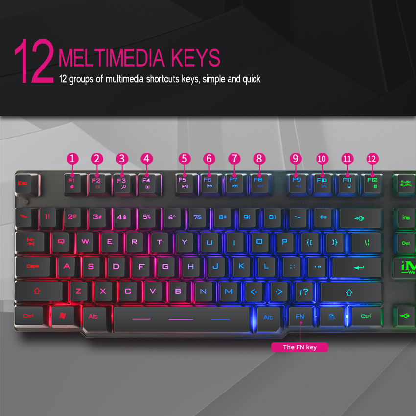 Image 3 - iMice Gaming Keyboard 7 Colors LED Backlit USB Wired Gamer Keyboard Professional Gaming Keyboard for PC Desktop Laptop Computer-in Keyboards from Computer & Office
