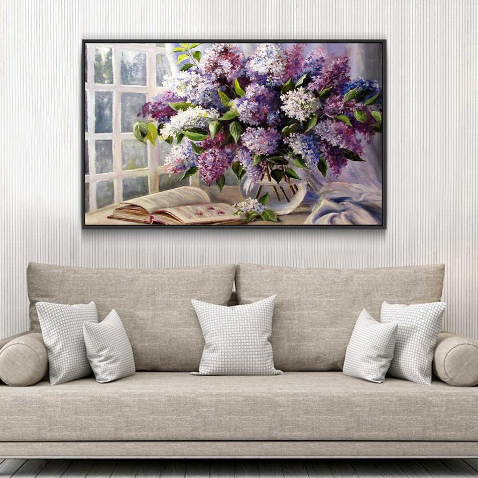 Алмазная вышивка цветок сиреневый полный дисплей алмазная живопись вышивка крестиком картины с цветами стразы, домашнее украшение a1275