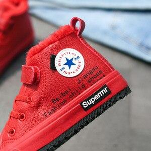 Image 5 - ילדי חורף נעלי ילדים קטנים קרסול מגפי קטיפה חם סניקרס אופנה בנות מרטין מגפי עור עמיד למים אדום ילדים מגפיים