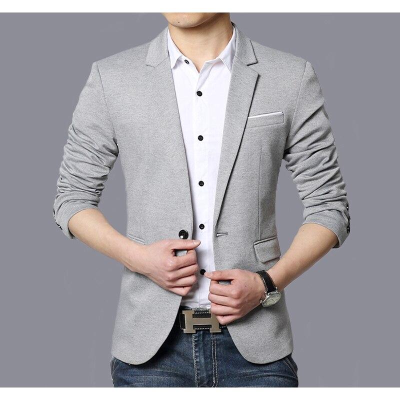 Casual Pak Blazer Mannen Mode Slim fit Jas Mannelijke Past Katoen Effen Kleur Mannelijke Blazer voor Mannen Bovenkleding Blazer Hombre-in Blazers van Mannenkleding op  Groep 1