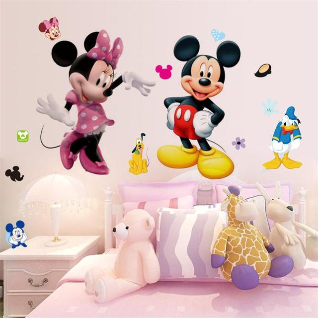 Mickey Mouse Wall Stickers Sticker Decorative Kids Boys Girls DIY Bedroom  Wall Decor Decal Home Art