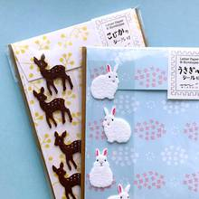 20pcs/set Kawaii Greeting Card Set with Stickers Labels Cat Deer Scrapbooking Envelopes for Wedding Planner Letter Invitations(China)