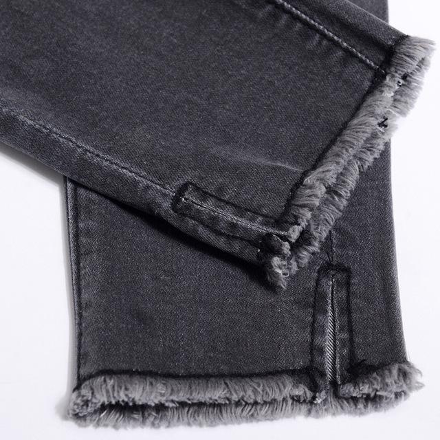2018 Summer Women Ankle-Length Black Jeans Students High Waist Stretch Skinny Female Tassel Pencil Pants Denim Ladies Trousers