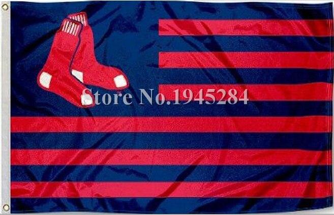 MLB Boston Red Sox US Stripes Flag New 3x5ft 90x150cm Polyester Flag Banner 7025, free shipping