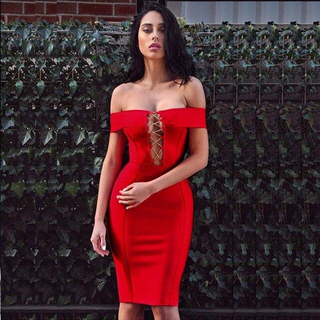 59ead0e5f09f Top Quality 2017 New Red Coffee Black Beige Off Shoulder Chain Sexy Women  Elegant Bodycon Vestidos Bandage Dress H4228